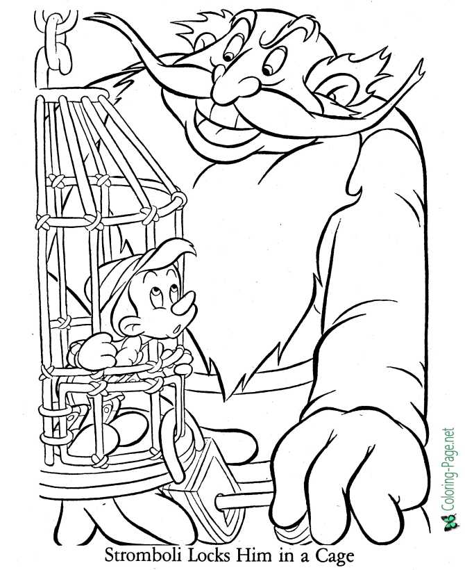 Pinocchio coloring page of world