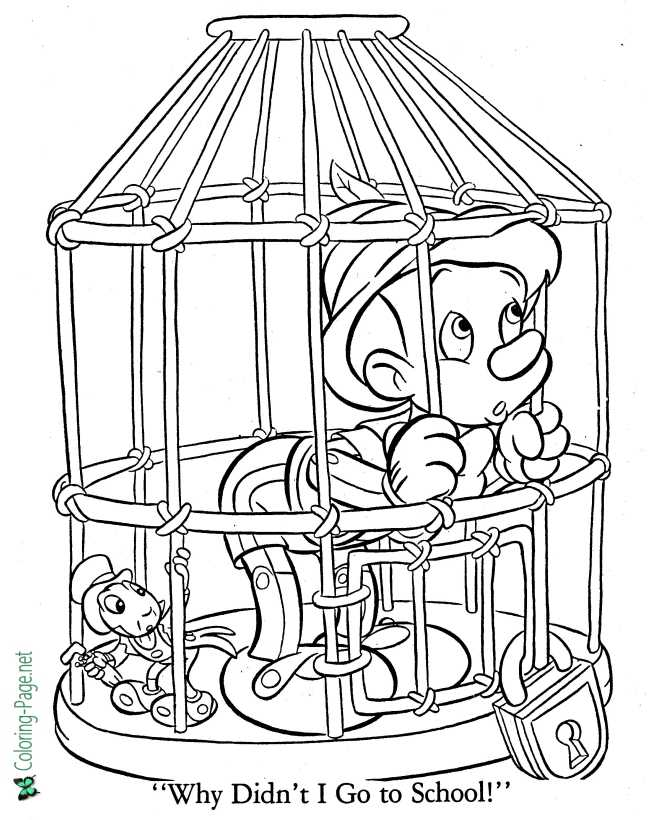 print world coloring page for Pinocchio