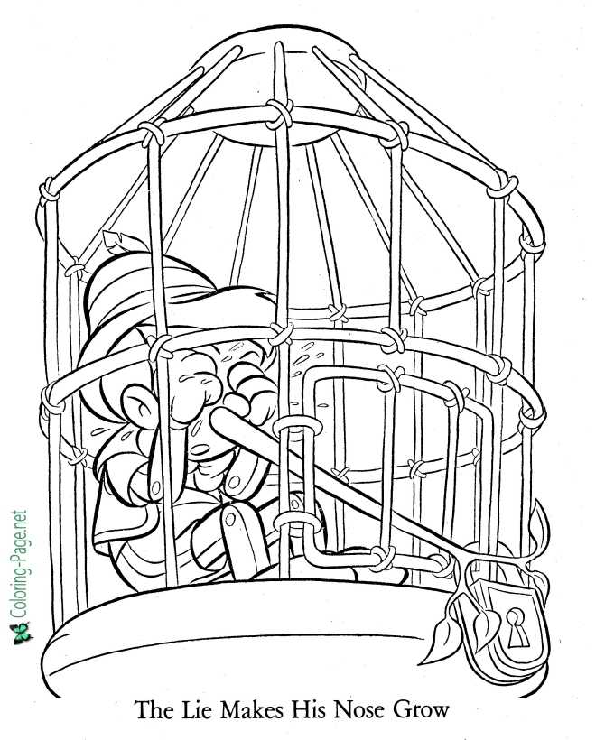 Lie Makes His Nose Grow - Pinocchio Coloring Page