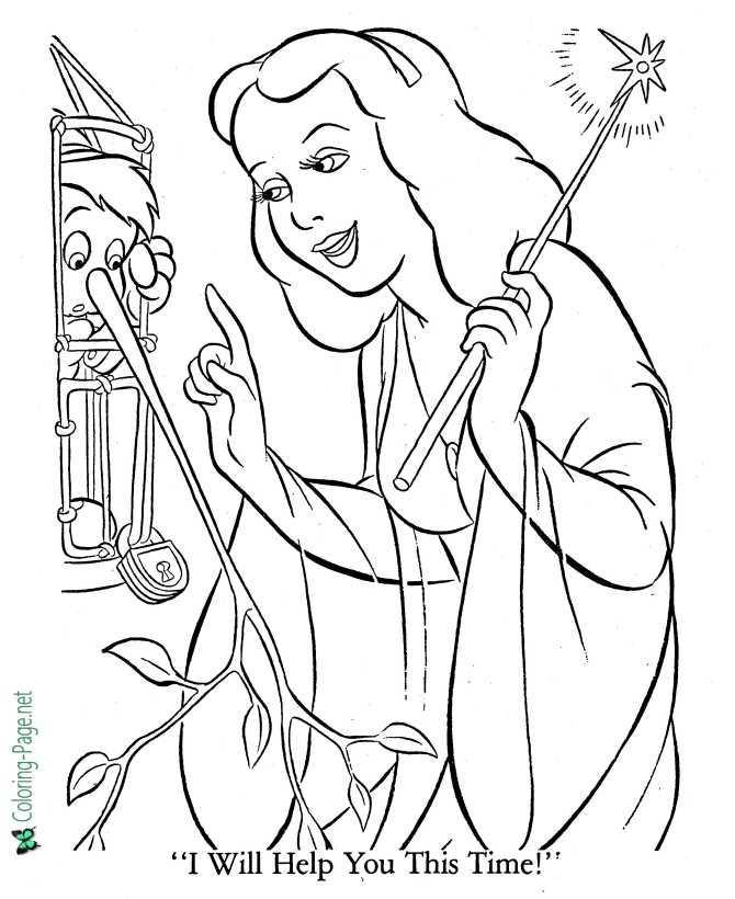 coloring page for Pinocchio