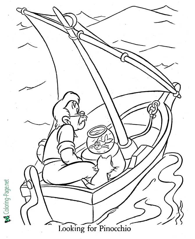 printable coloring page for Pinocchio