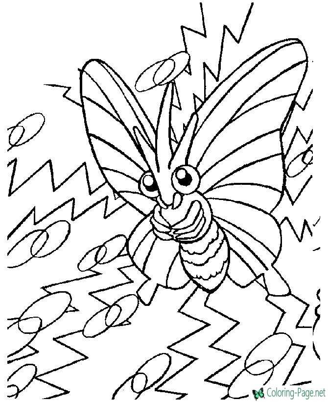 printable pokemon coloring page Butterfly Monster