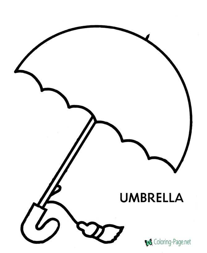 Preschool coloring pages umbrella for Printable umbrella template for preschool