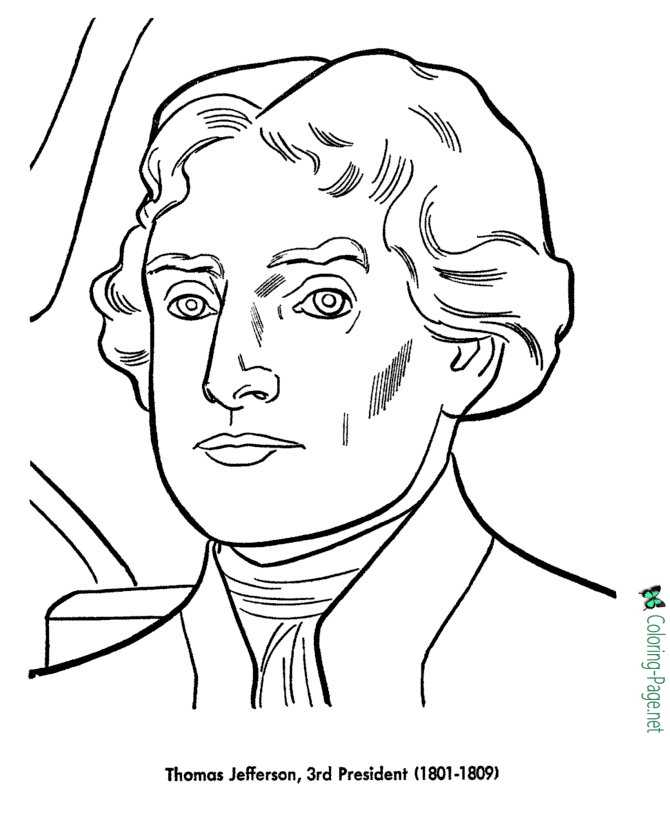 Kids Pictures To Color Of Thomas Jefferson