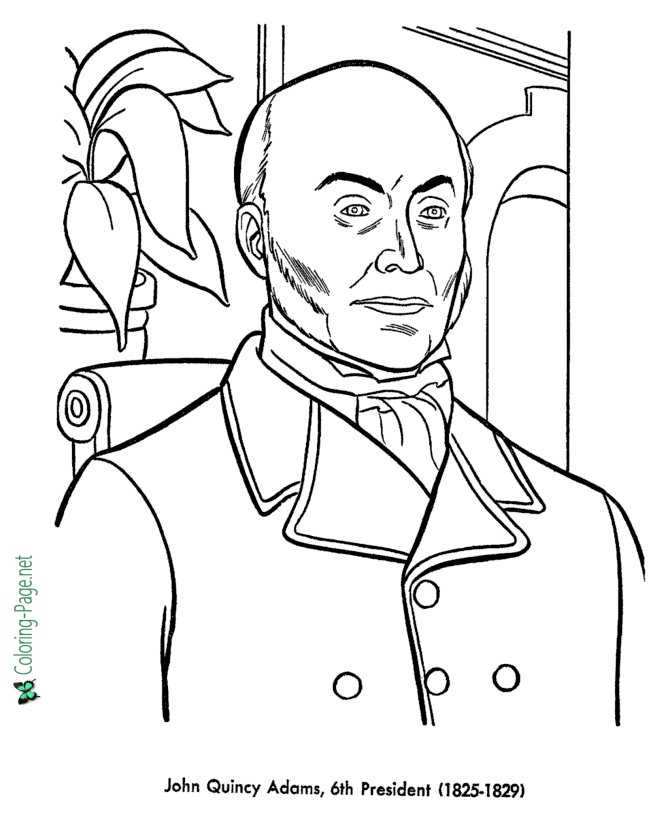 US Presidents Coloring Pages John Quincy Adams