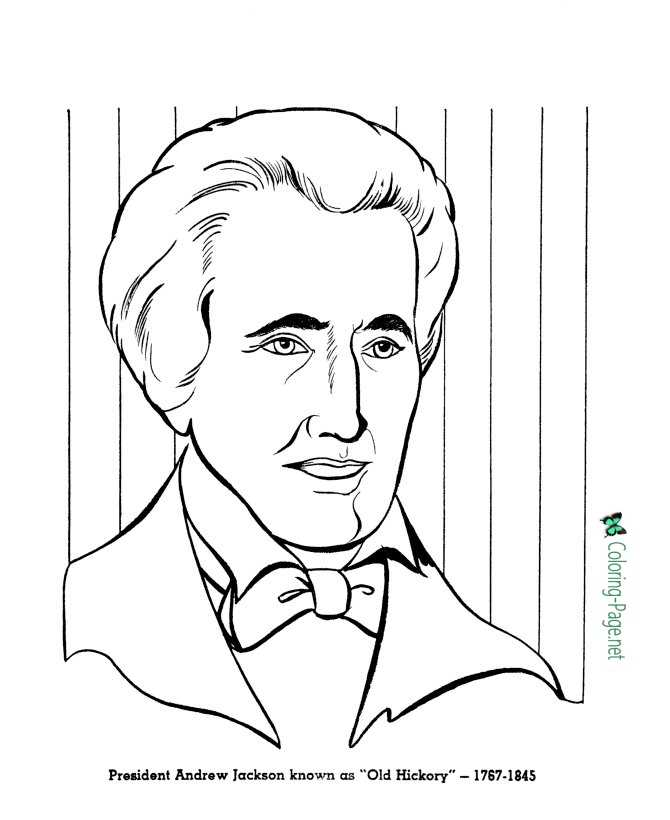 US Presidents Coloring Pages Andrew Jackson