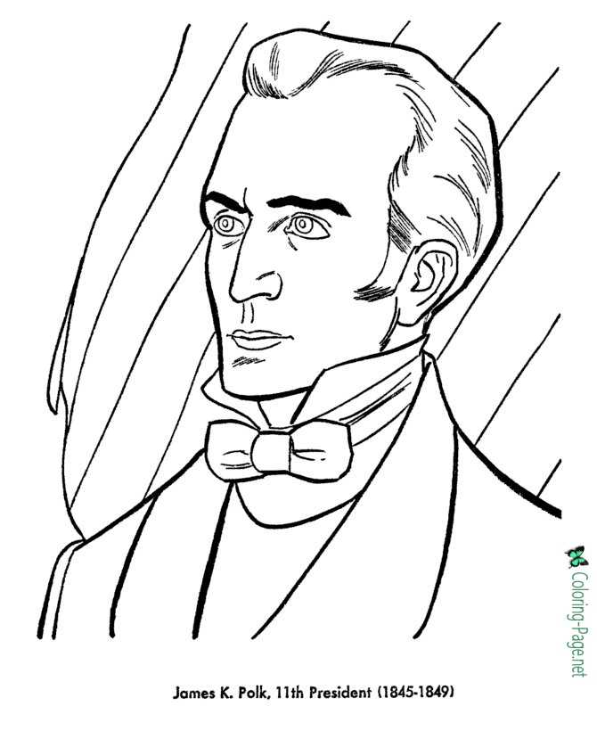 US Presidents Coloring Pages James K Polk