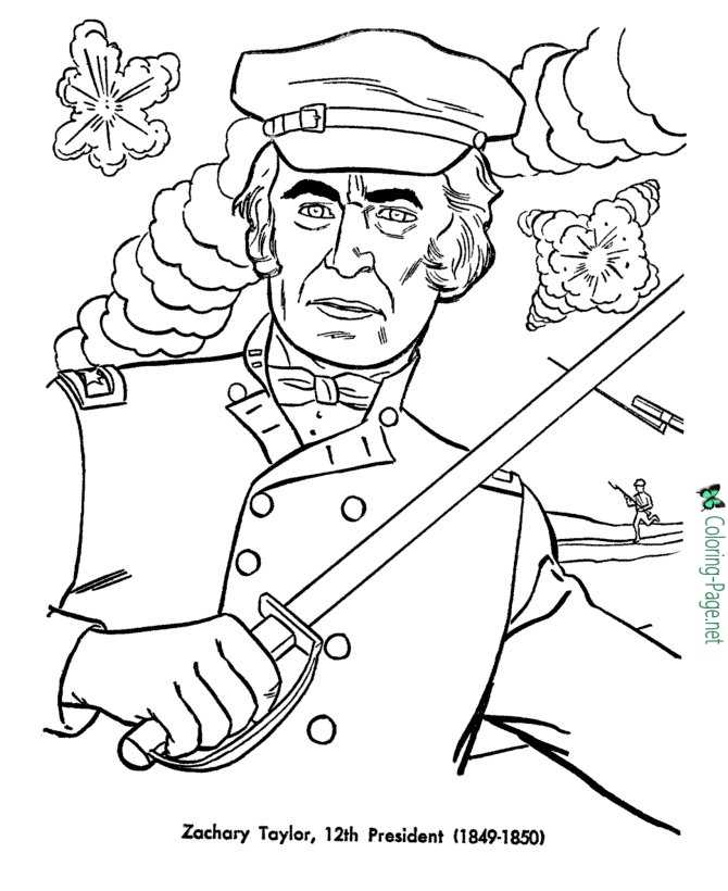 US Presidents Coloring Pages Zachary Taylor