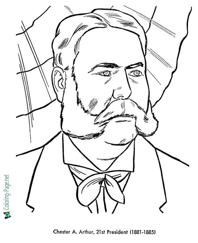 chester arthur coloring pages