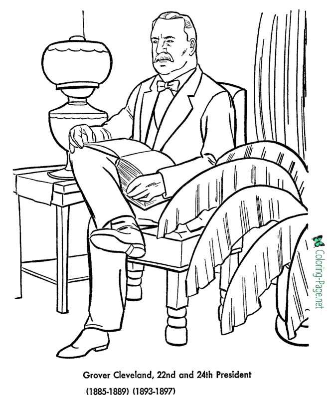 US Presidents Coloring Pages Grover Cleveland