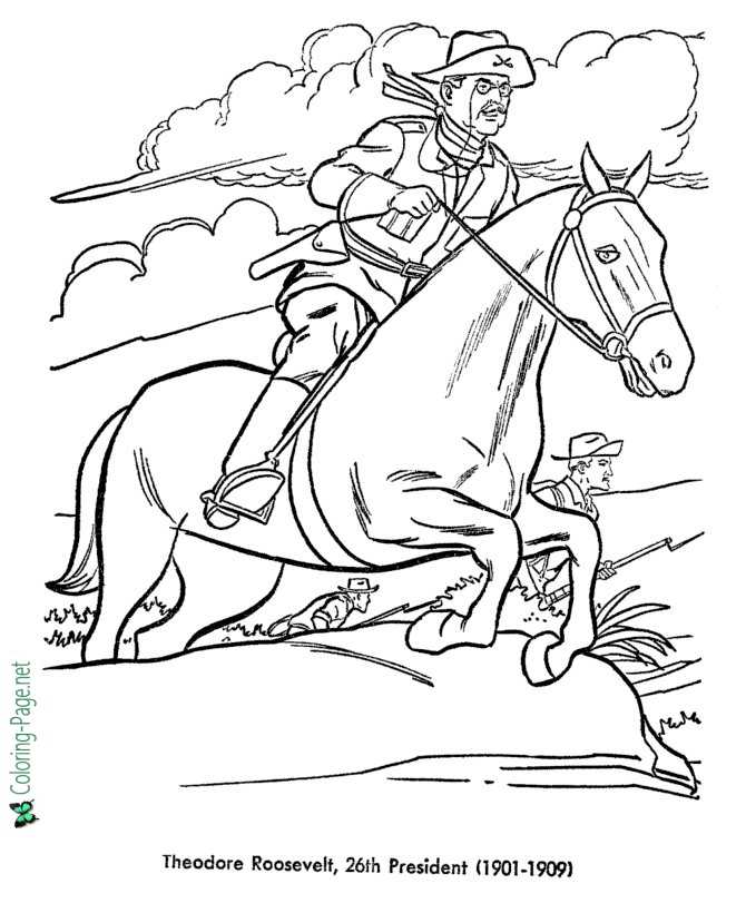 theodore roosevelt coloring pages