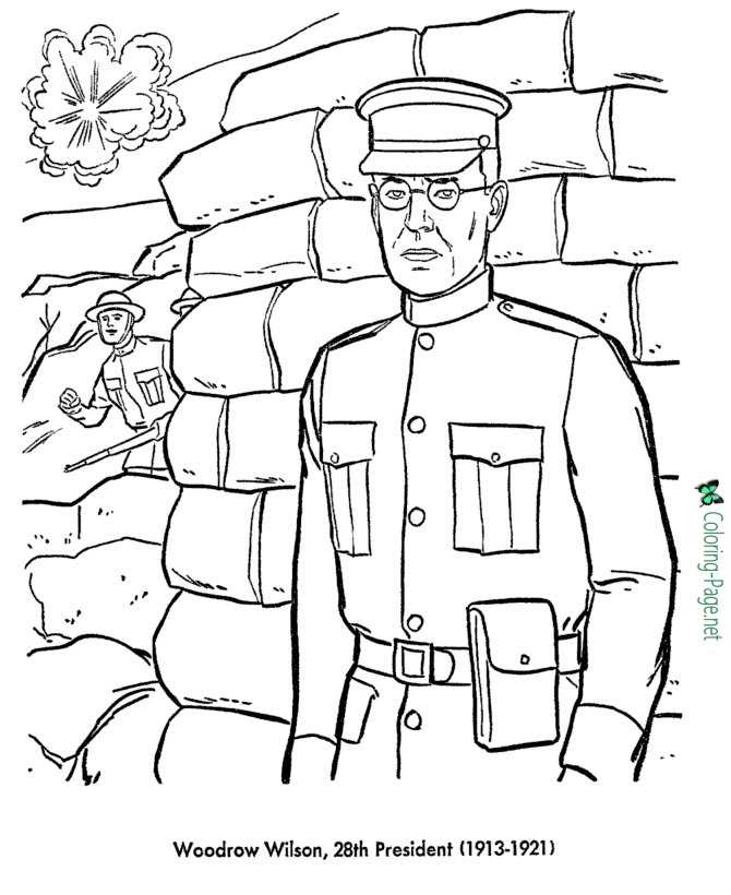 Us Presidents Coloring Pages Woodrow Wilson