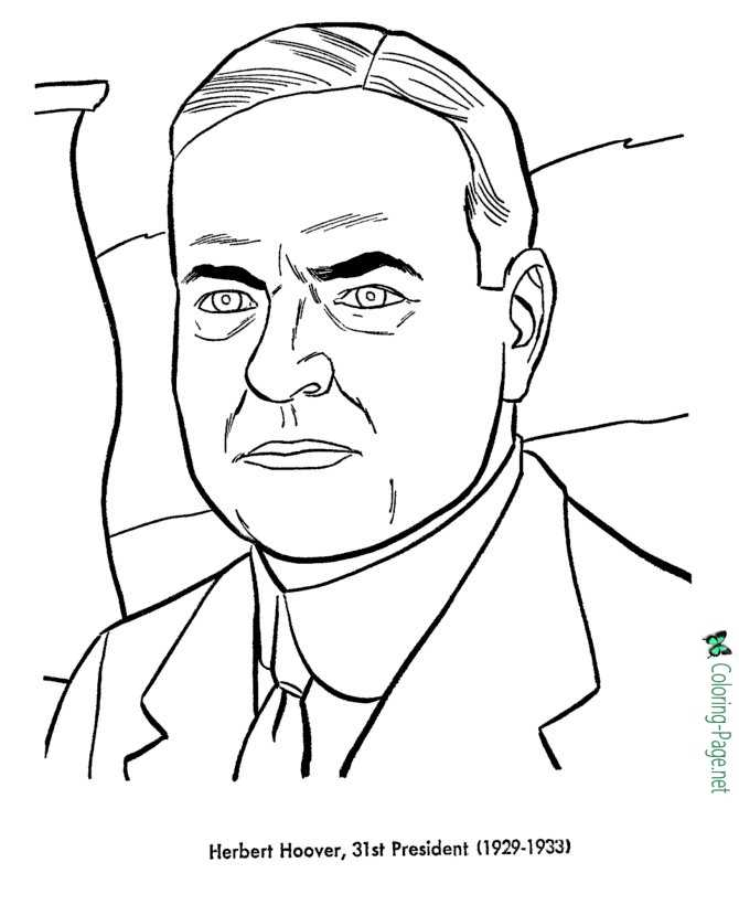 US Presidents Coloring Pages Herbert C Hover