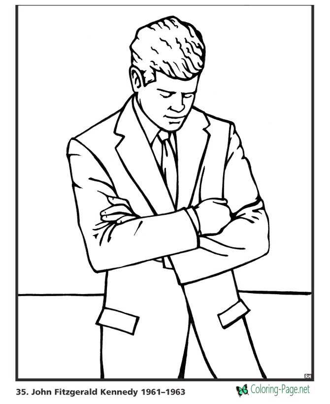 US Presidents Coloring Pages John F Kennedy
