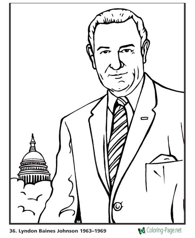 lyndon johnson coloring pages