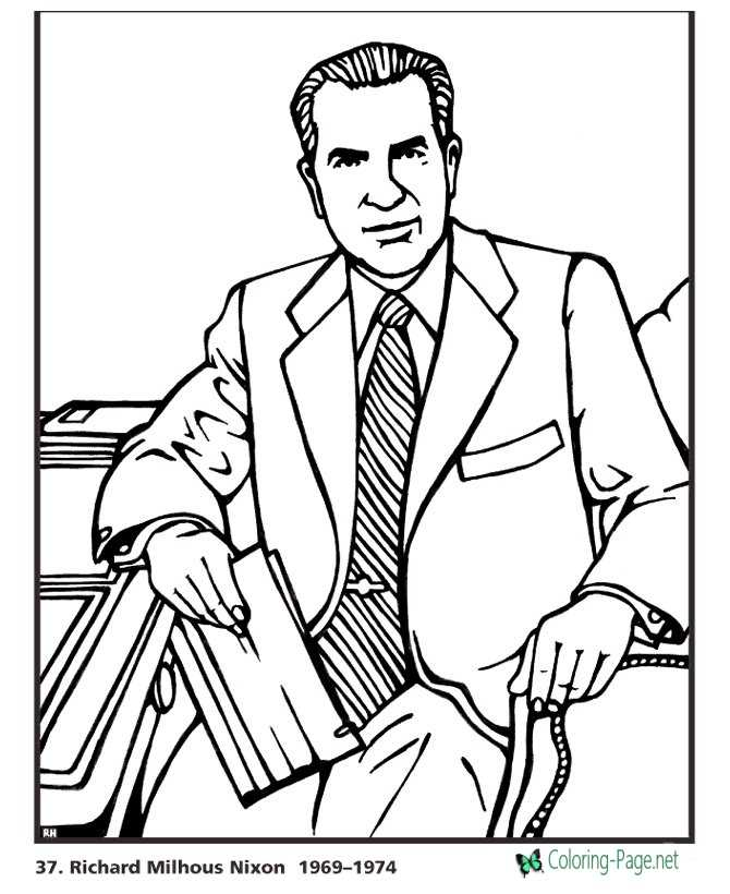 US Presidents Coloring Pages Richard Nixon