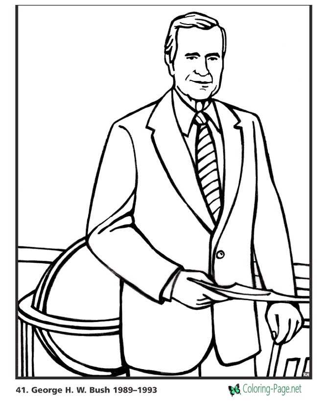 US Presidents Coloring Pages George HW Bush
