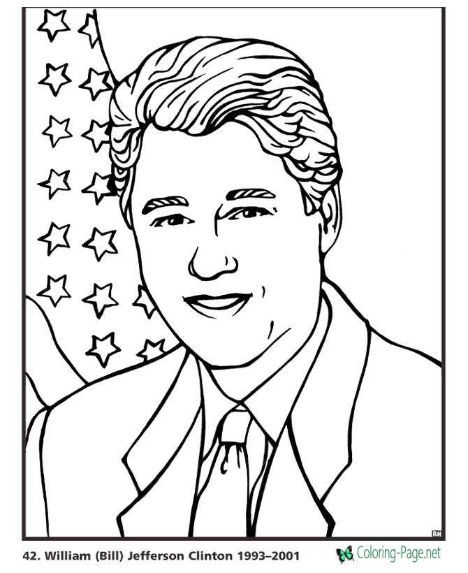 US Presidents Coloring Pages Bill Clinton