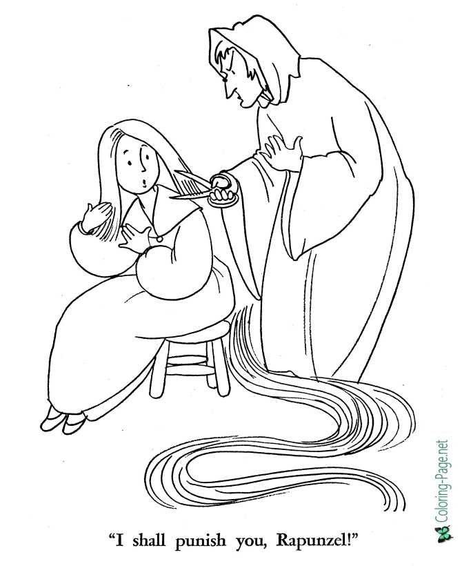 printable coloring page for Rapunzel