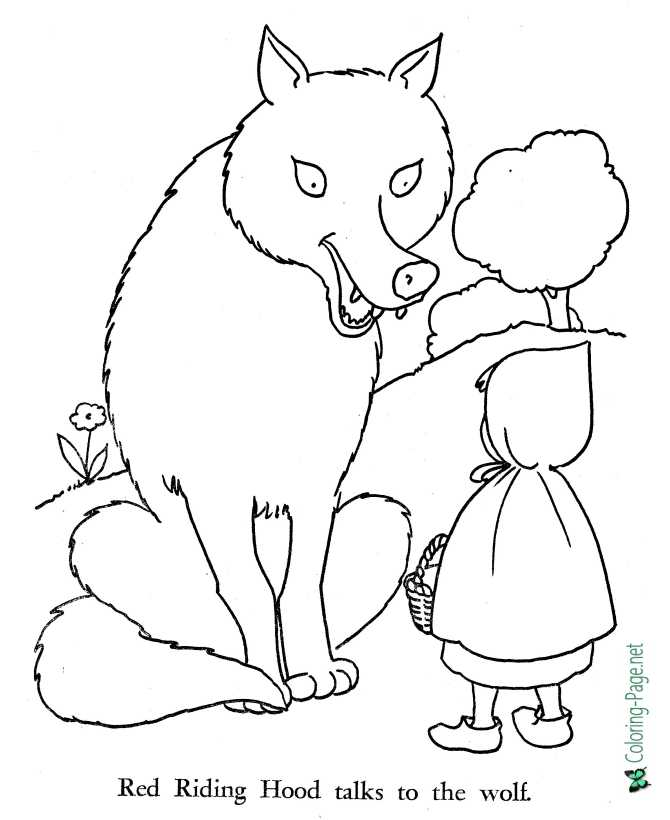 coloring page for Little Red Riding Hood