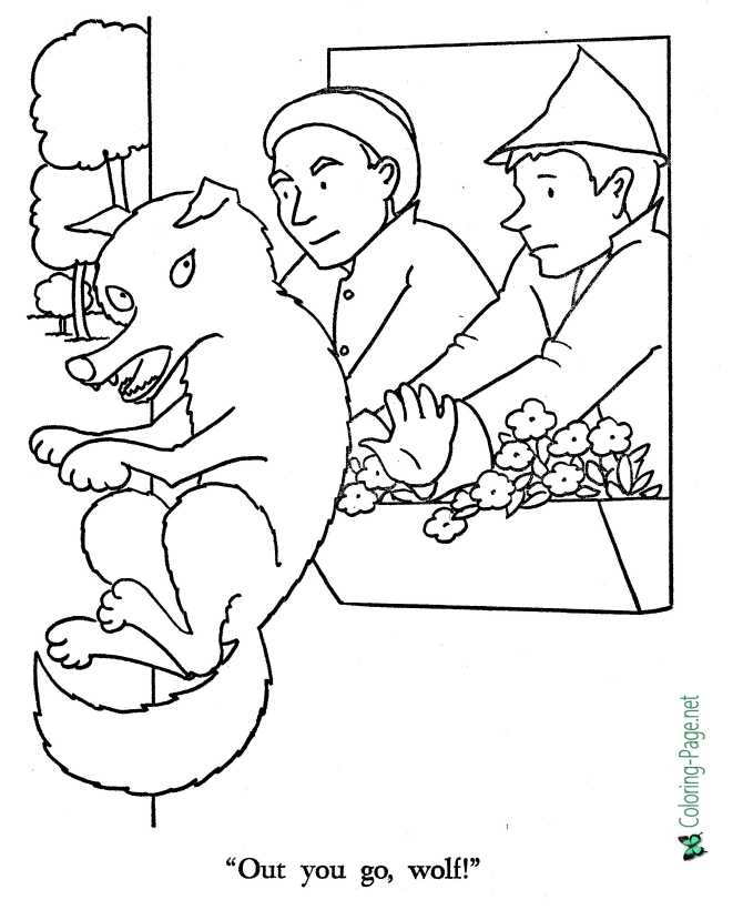 print world coloring page for Little Red Riding Hood