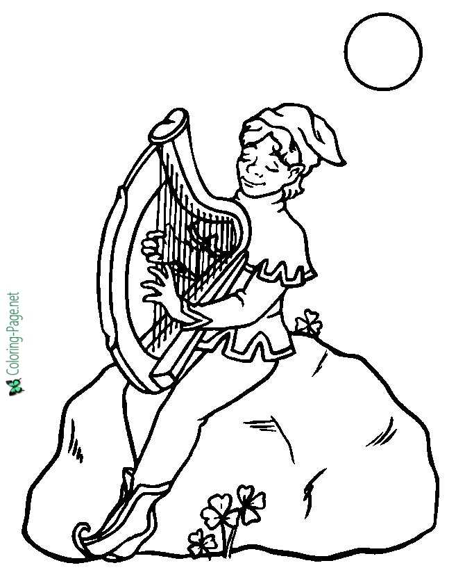 St Patrick´s Day Coloring Pages Leprechaun Harp