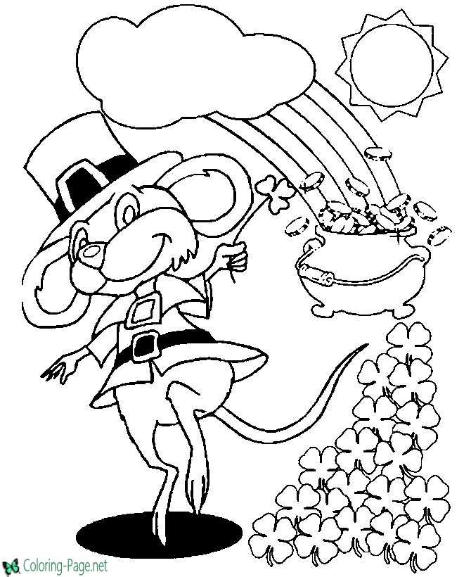 St Patrick´s Day Coloring Pages Leprechauns Rainbow