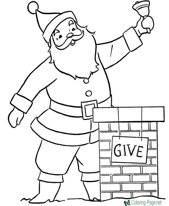 Santa Claus Coloring Pages Chimney Give