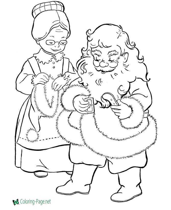 mr and mrs santa claus coloring pages