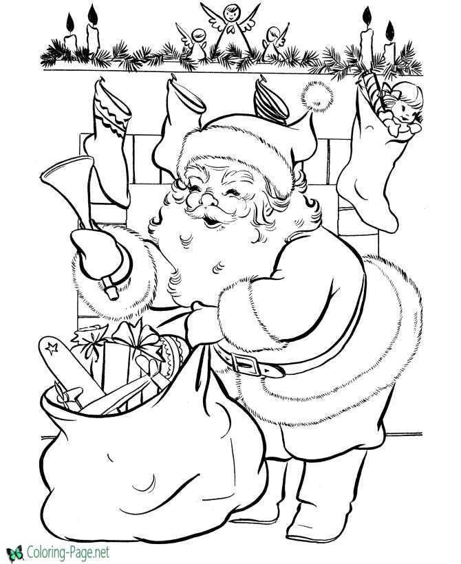 Santa Claus Coloring Pages Christmas Stockings