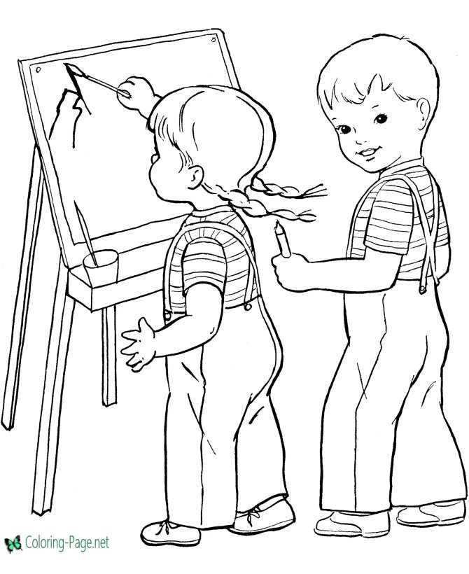 kids school coloring page