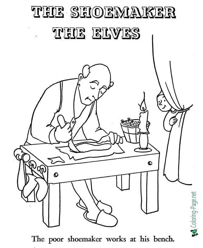 Shoemaker And Elves Coloring Pages Fairy Tale