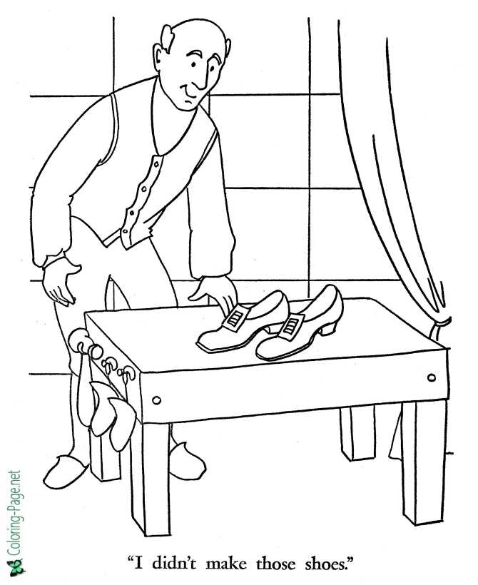 Shoemaker and the Elves coloring page