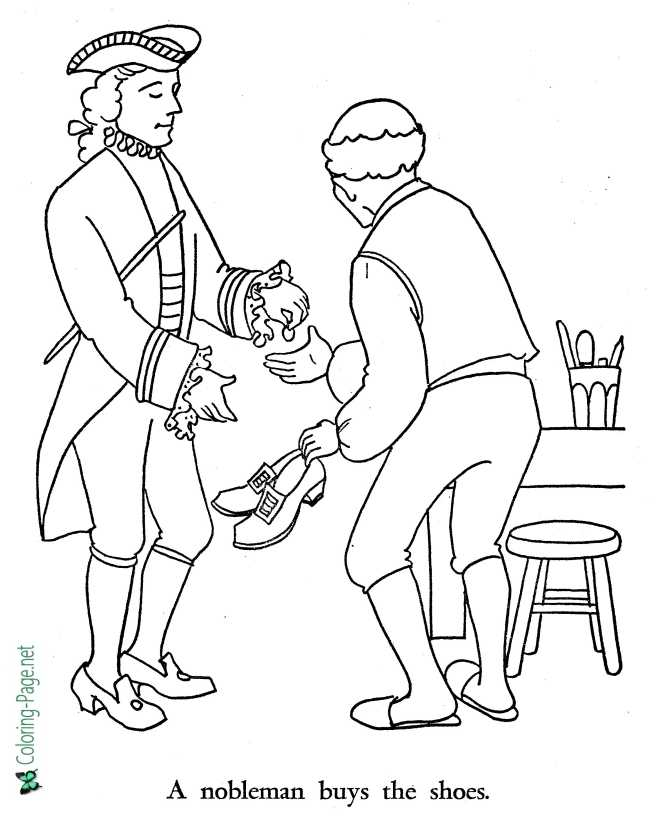 Shoemaker and the Elves coloring page for children