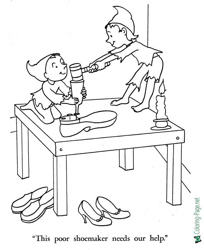 Shoemaker and the Elves pictures to color