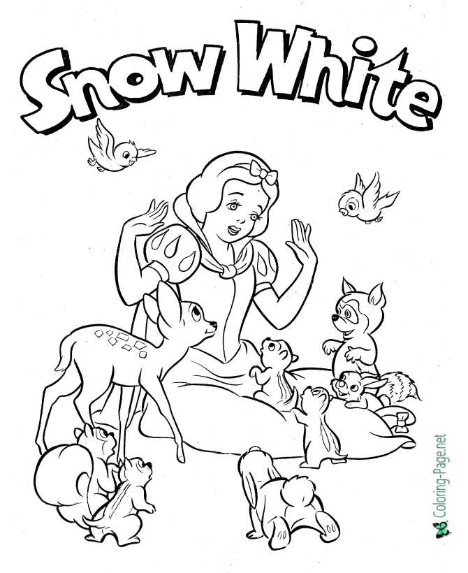 printable Snow White coloring page