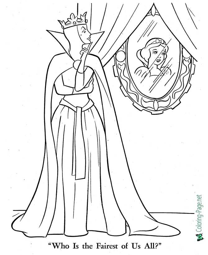 printable Snow White coloring page - Who is the Fairest of All?