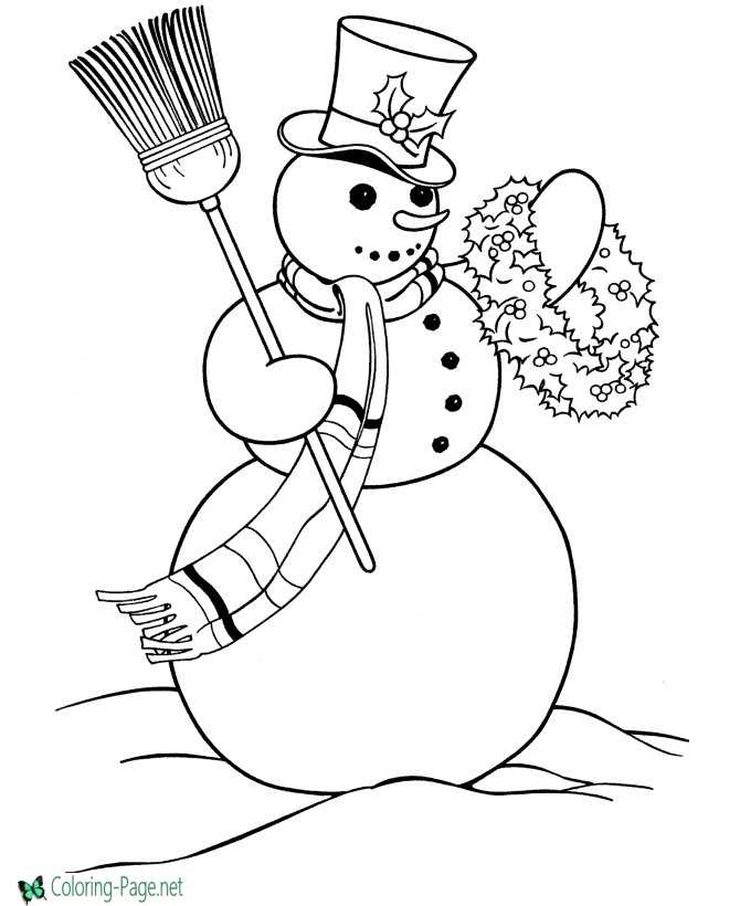 kids coloring page snowman