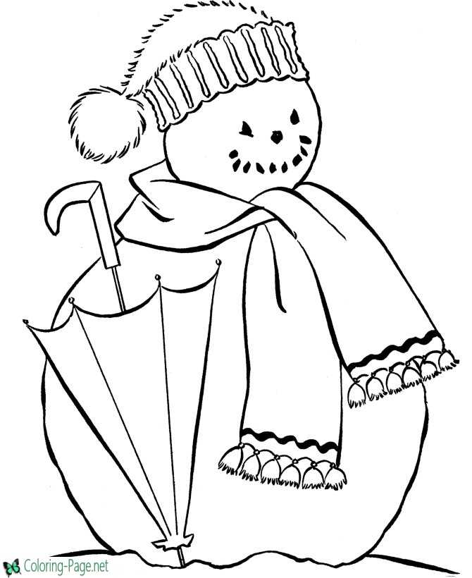 Umbrella and Snowman Coloring Pages
