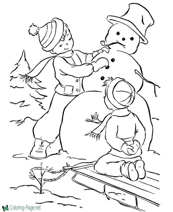 print snowman coloring page