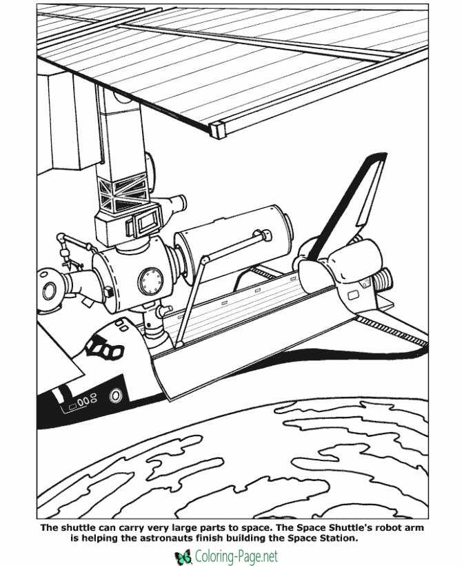 Printable Space Coloring Pages Space Shuttle Robot Arm