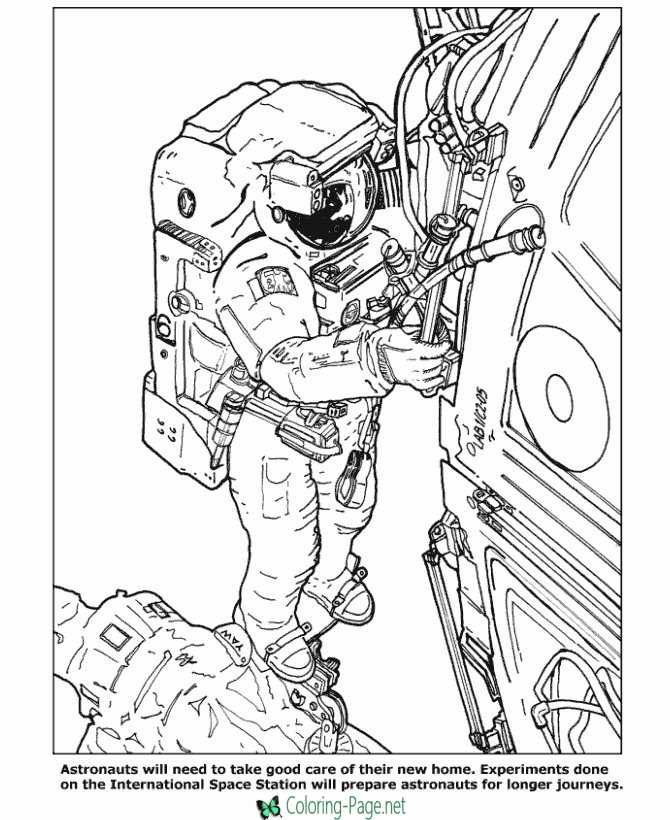 International Space Station Coloring Pages Astronauts
