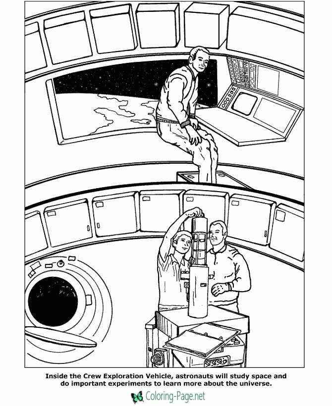 International Space Station Crew Coloring Page