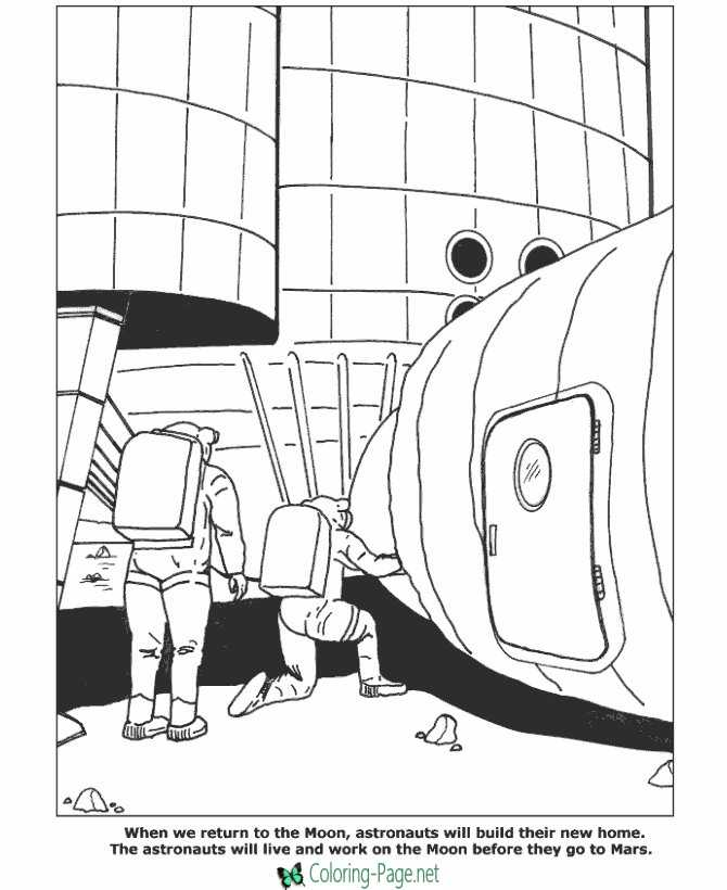 Space Coloring Pages Prepare for Mars