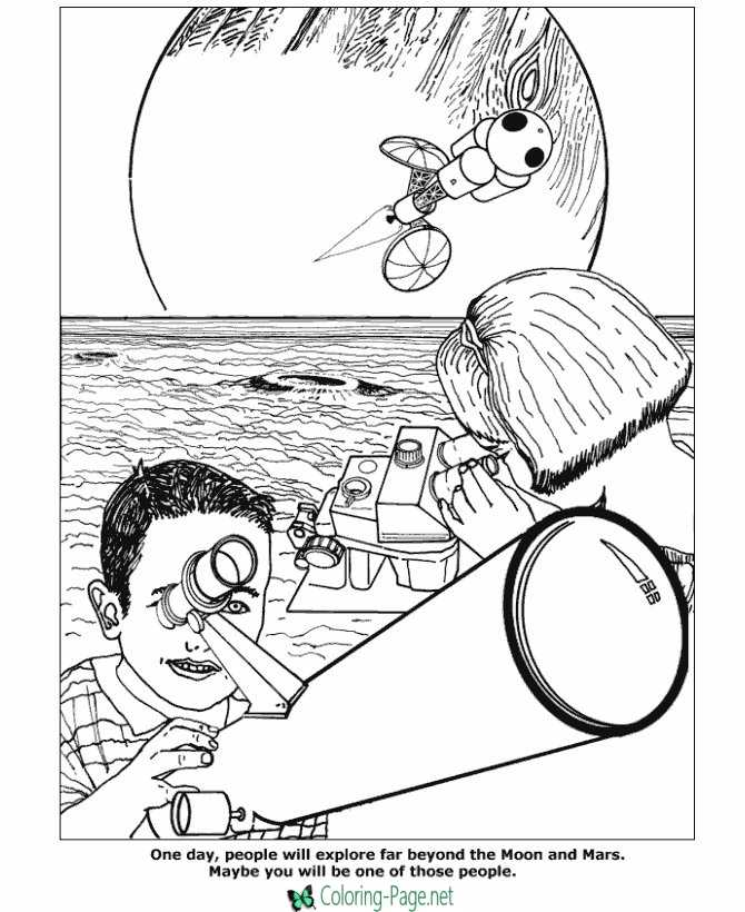 Space Coloring Pages Telescope