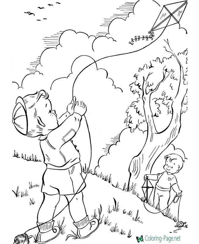 Spring Kites Coloring Pages