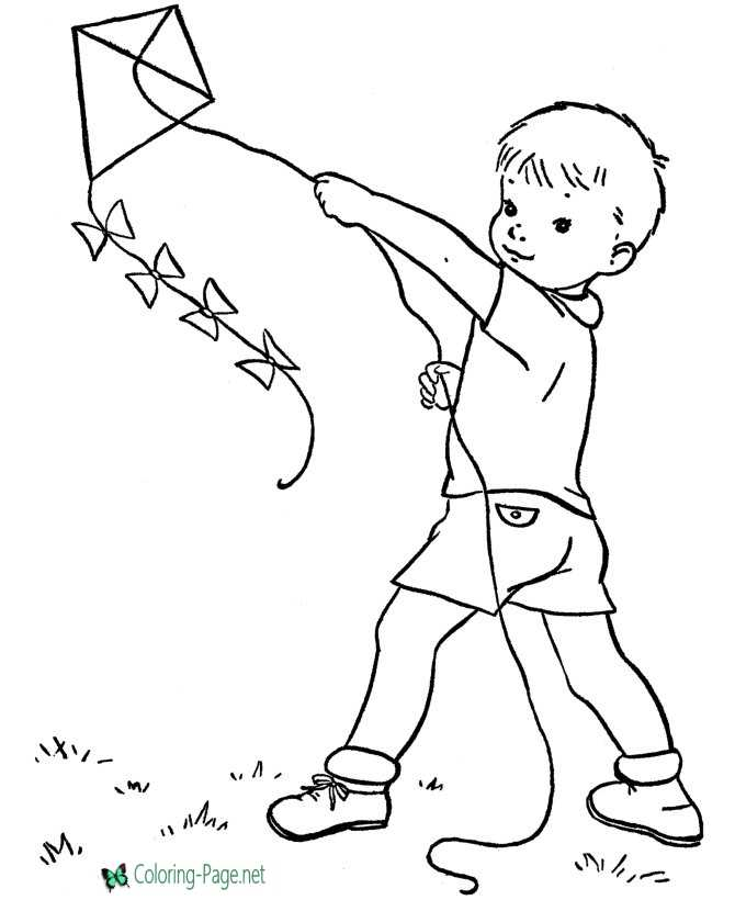 Spring Coloring Pages Boy Kite