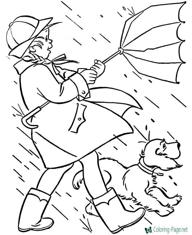 spring coloring pages girl rain storm