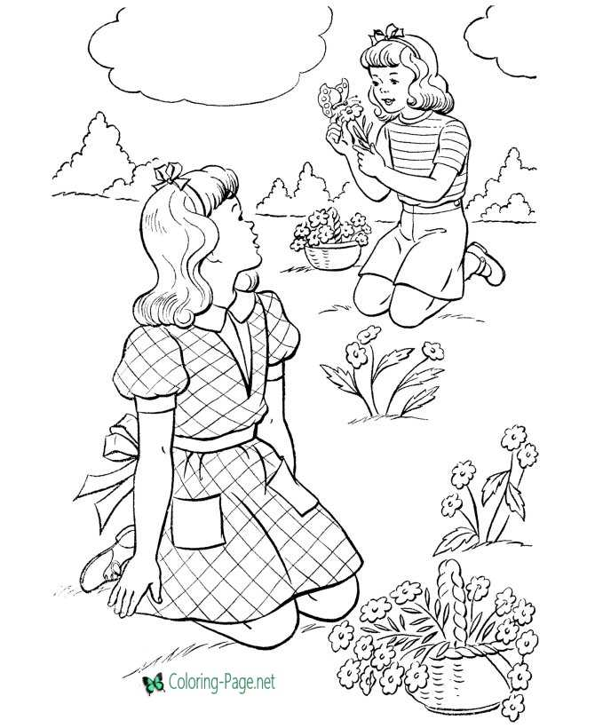Girls Pick Flowers Spring Coloring Pages