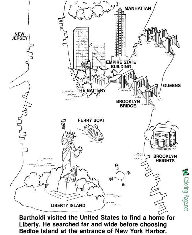 Statue Of Liberty Coloring Page Printable